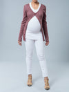 Noppies Maternity Button-Up Knit Cardigan Paired with Fitted Maternity Tee and Skinny Maternity Jeans