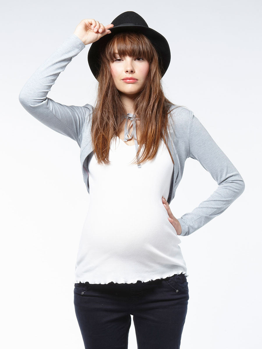 Noppies Maternity Cropped Sweat Maternity Jacket with Front Neck Tie and Hood
