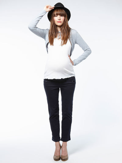Noppies Maternity Cropped Sweat Maternity Jacket with Front Neck Tie and Hood Paired with Cuffed Maternity Pants