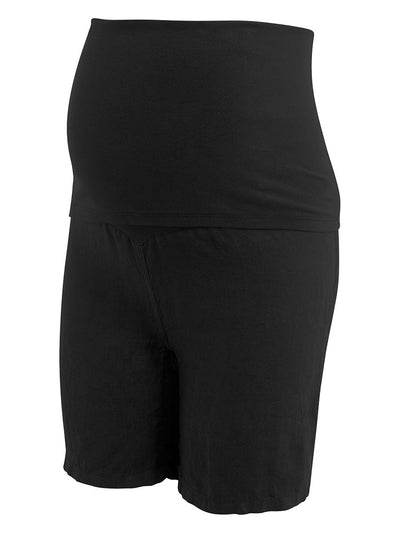 Maternity Linen Shorts with Double Layered Belly Panel for Support