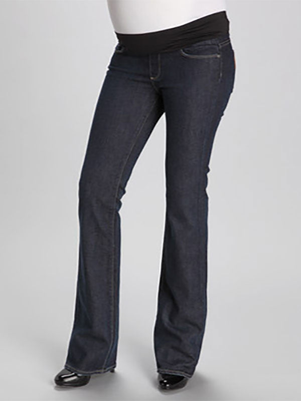 8b7ca6297c5 Paige Slim Bootcut Six-Pocket Maternity Jeans with Mid-Belly Panel ...