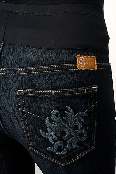 Paige Premium Denim Bootcut Maternity Jeans with Floral Embroidered Back Pockets