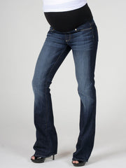 Paige Bootcut Rebel Wash Maternity Jeans with Contoured Belly Panel