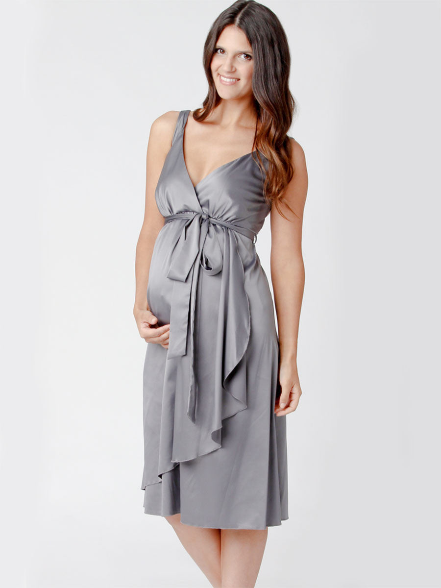 Ripe Crossover Neck Maternity Satin Dress for Weddings