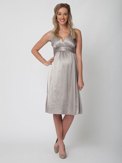 Satin Cocktail Maternity Dress for Wedding and Baby Shower
