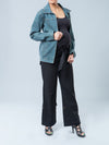 Ripe Maternity Denim Jacket with Detachable Faux Fur - Side View