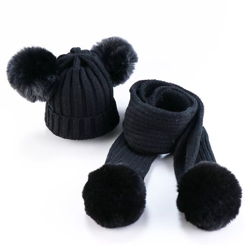 Pom Pom scarf and beanie set