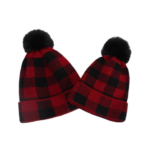 Buffalo plaid Pom hats