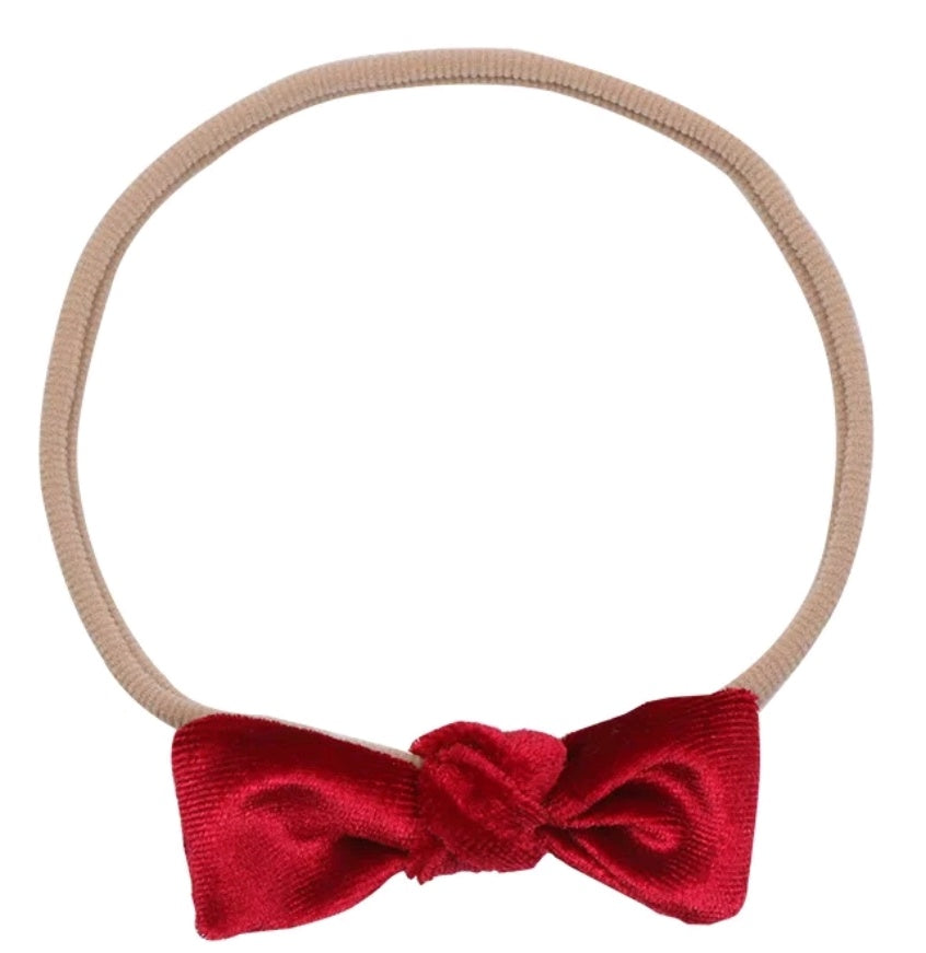 Velvet Mini Twisted Bow Headband