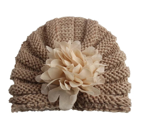 Flower knitted baby turban