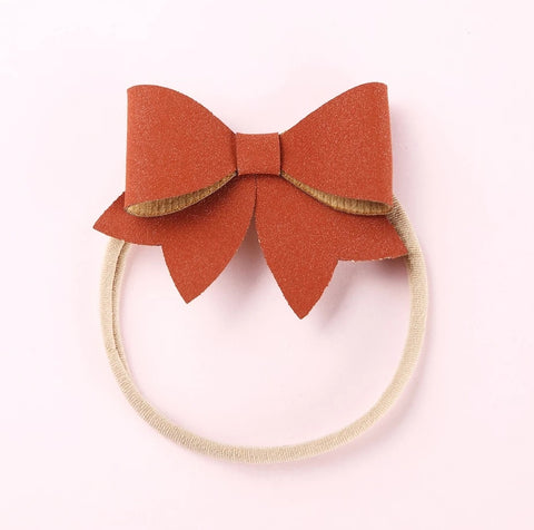 Faux leather baby bows