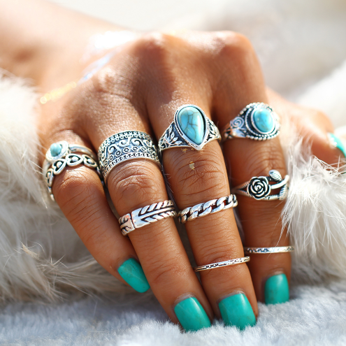 Retro Blue Boho Ring Set