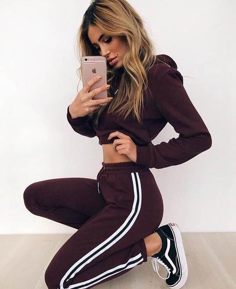 Plum Hoodie and Sweatpants Set