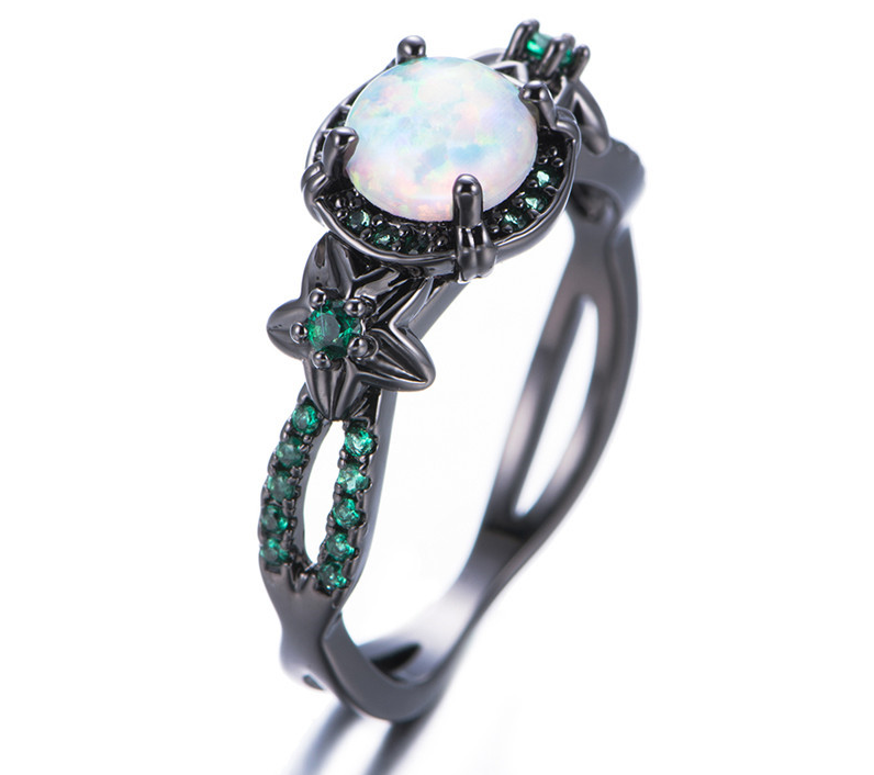 White Fire Opal Flower Ring
