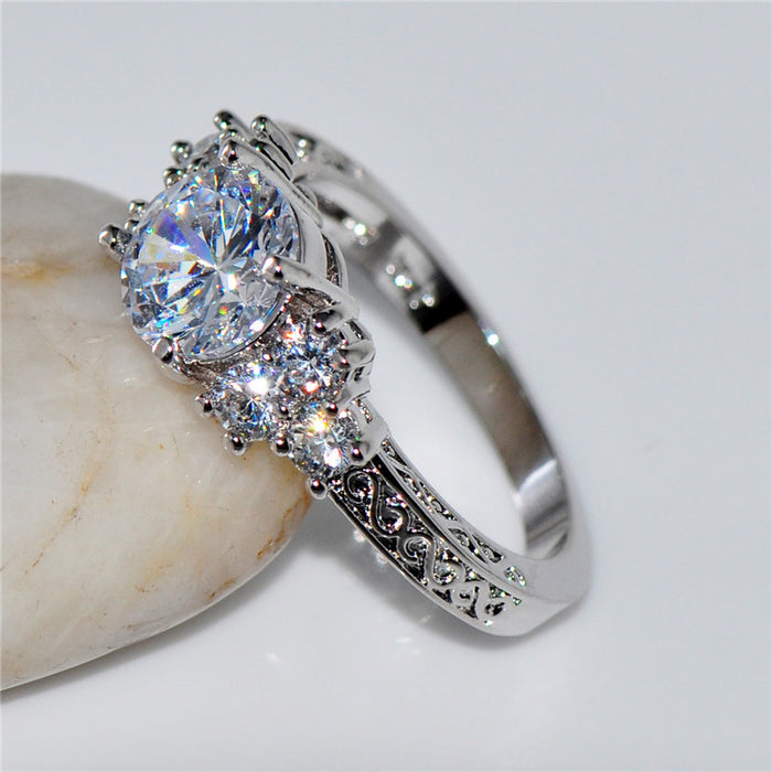 White Stone Princess Ring