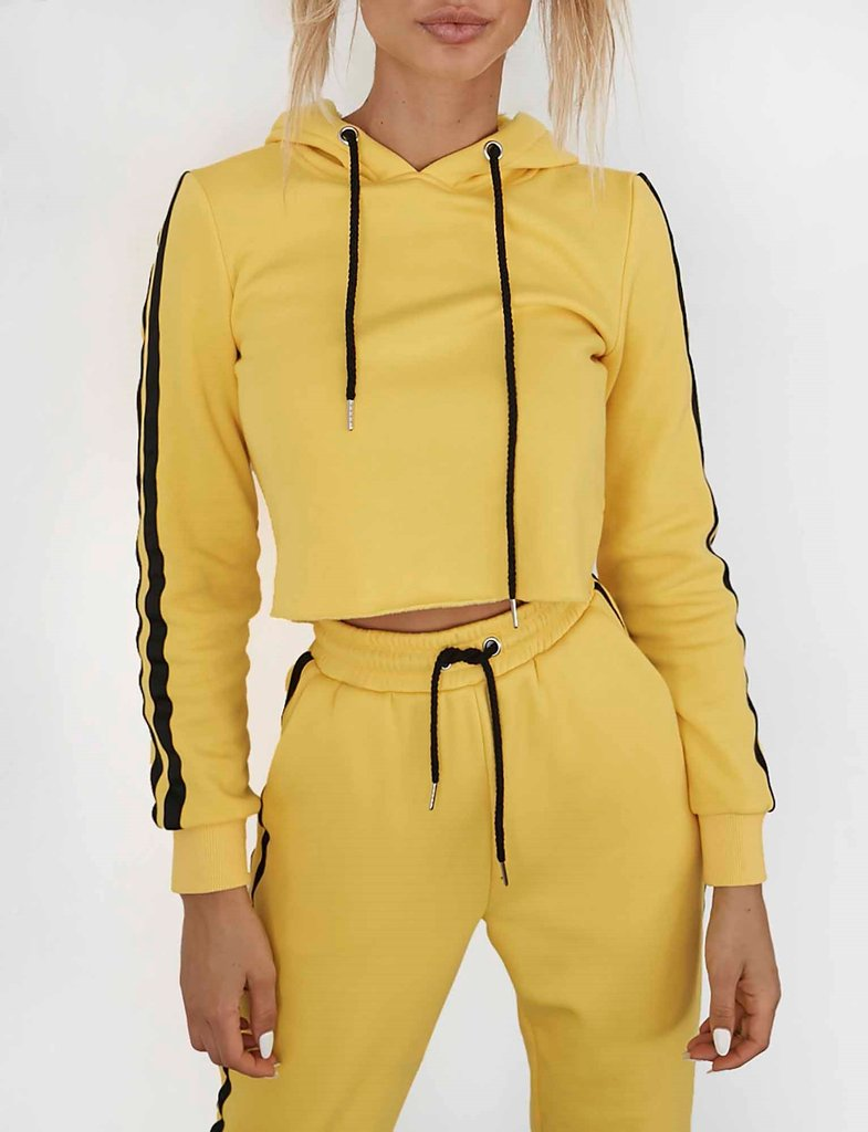 Yellow Crop Hoodie and Pant Set