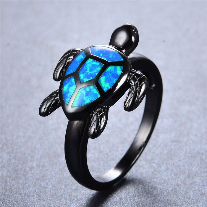 Blue Fire Opal Turtle Ring