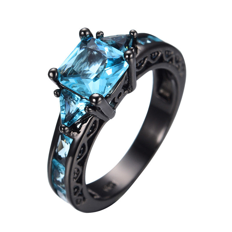 Princess Cut Light Blue Ring - 10KT Black Gold