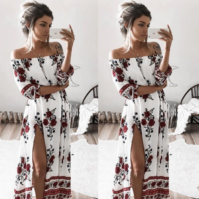Chiffon Floral Long Sleeve Dress