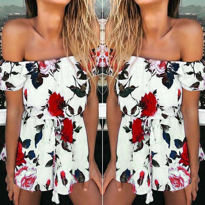Boho Red Rose Print Playsuit