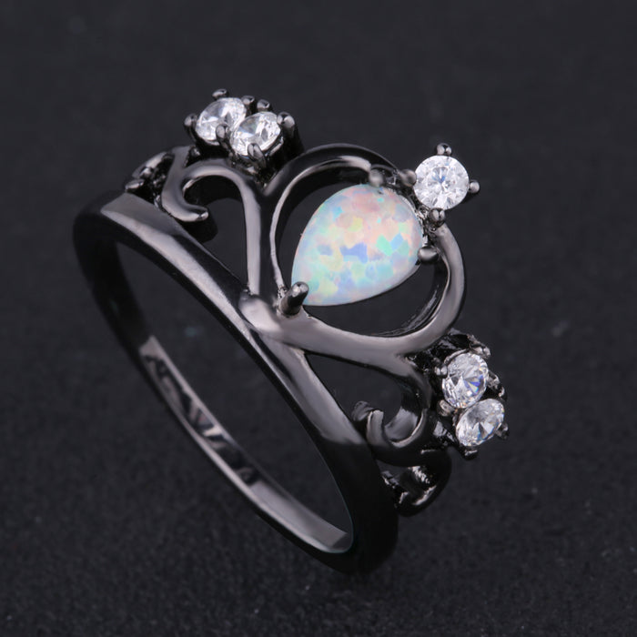 Princess Crown White Fire Opal Ring