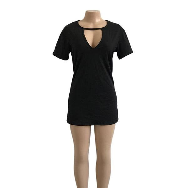 Cut Out Short Sleeve Mini Dress