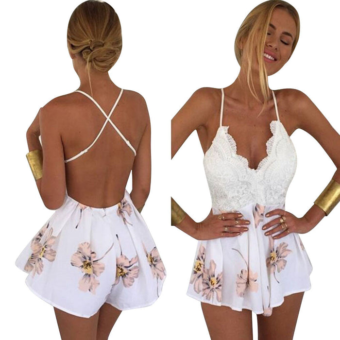 White Lace Pink Flower Playsuit