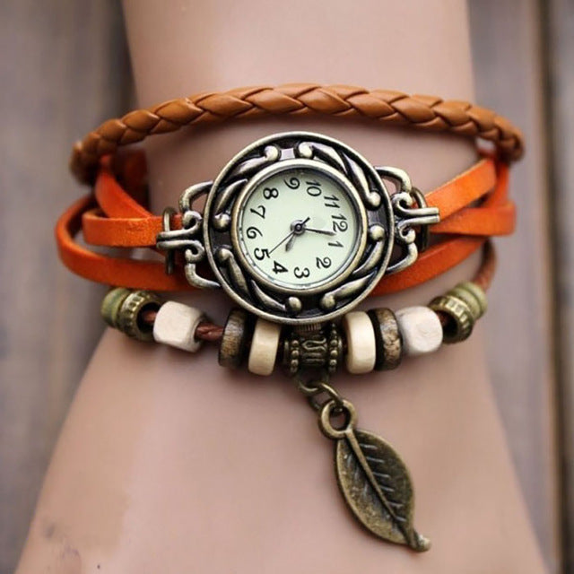 Women's Leather Leaf Watch