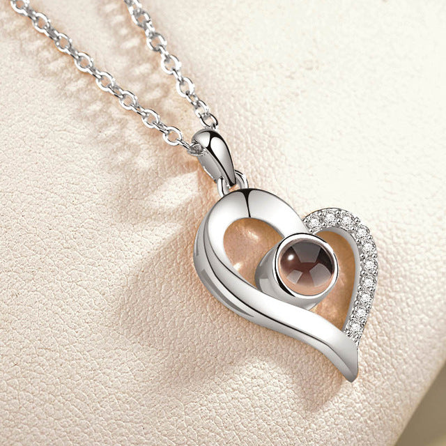 100 Languages -  Curved Heart I Love You Necklace