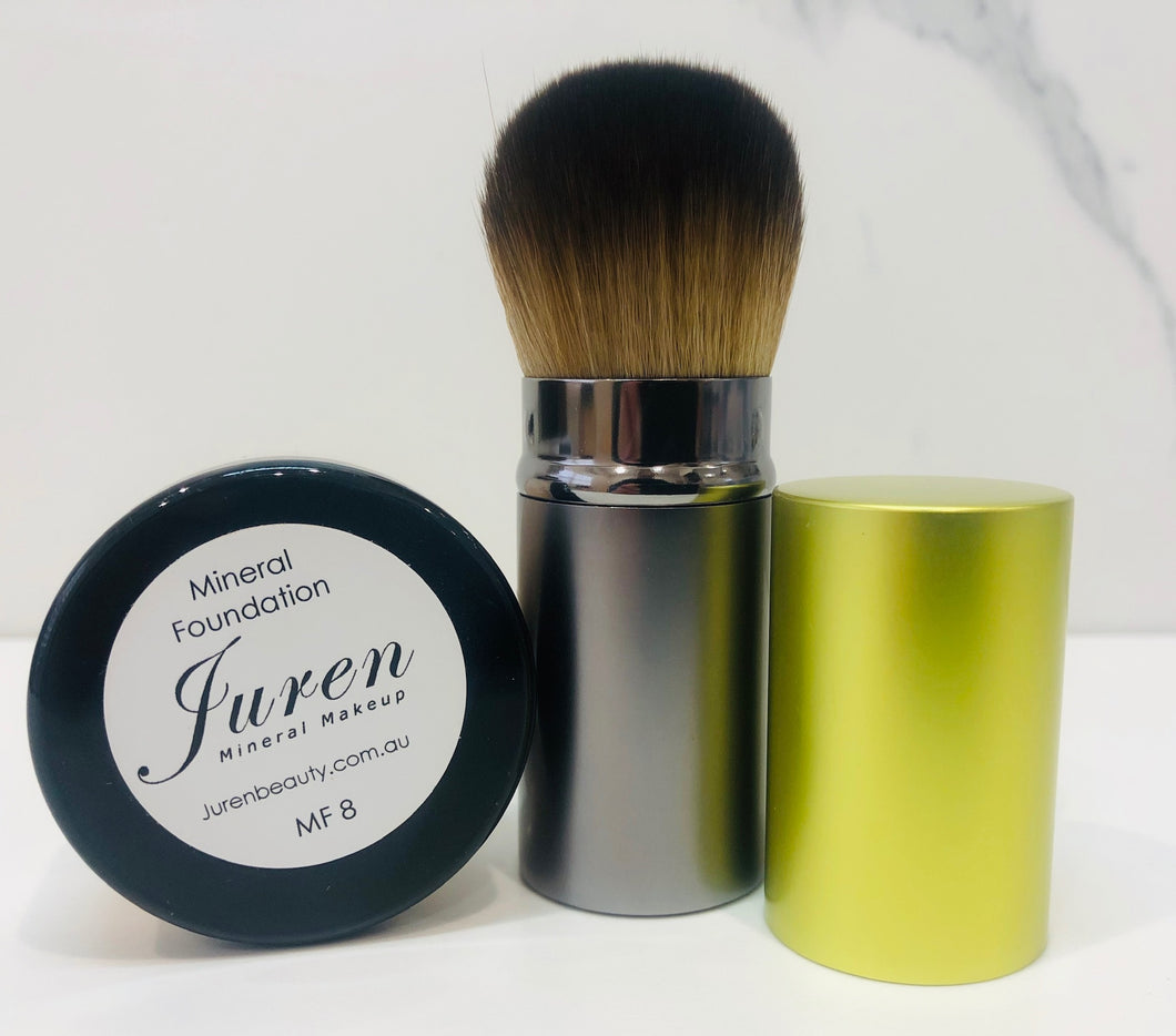 Juren Mineral Foundation 7g and Retractable Vegan Kabuki Brush Combo