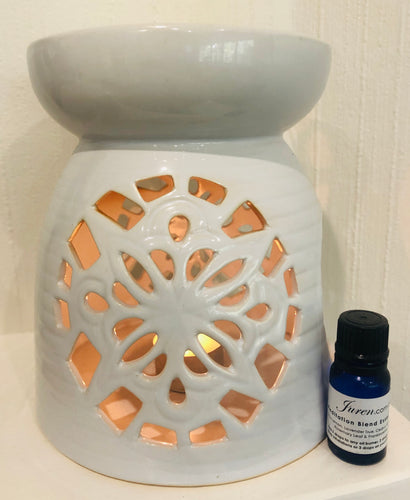 New White X-Large Juren Ceramic Oil Burner + Complimentary 15ml Meditation Blend Essential Oil