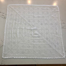 Crocheted Baby Blanket - White Hearts in Stripes