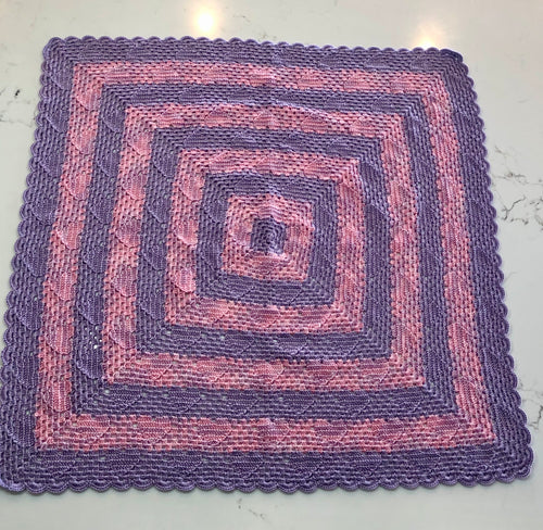 Crocheted Baby Blanket - Hearts in Pink and Mauve Stripes