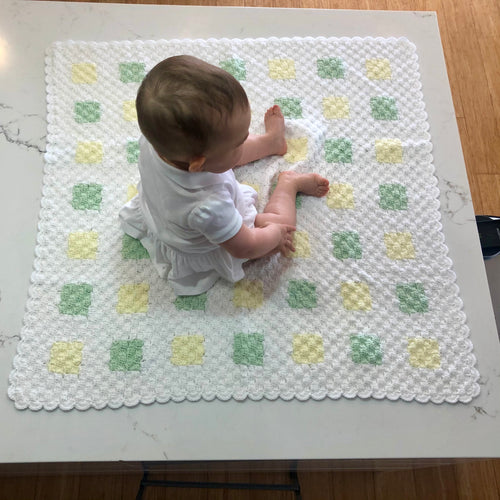 Crocheted Baby Blanket - Corner2Corner White/Lemon/Mint