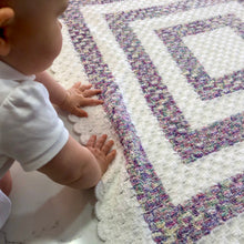 Crocheted Baby Blanket - Corner2Corner White with Multi Colour Squares