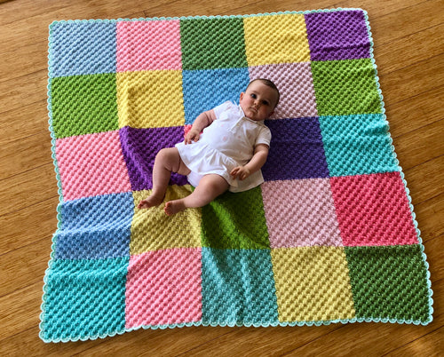 Crocheted Floor Rug - Multi Colour Squares