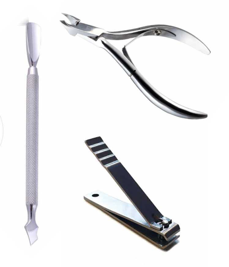 Combo - Cuticle Pusher, Cuticle Clippers 4mm Jaw & Straight Nail Clippers.