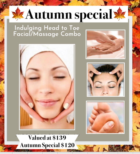 Autumn Special - Indulging 1hr Head to Toe Facial & Massage Combo