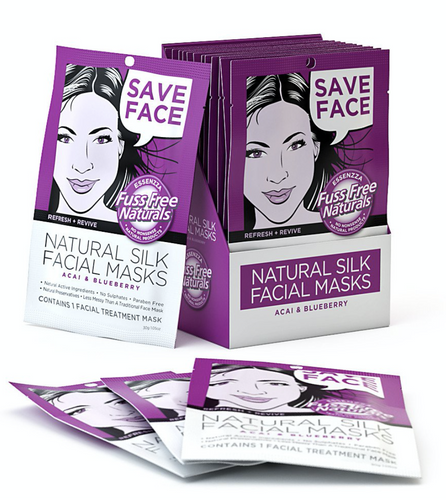 Refresh & Revive Facial Sheet Masks - with Acai + Blueberry - 6 Pack