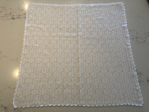 Crocheted Baby Blanket - White Honey Comb