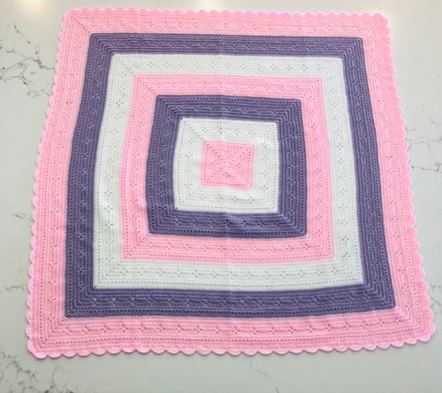 Crocheted Baby Blanket/Shawl - Pink/Mauve/White Stripe
