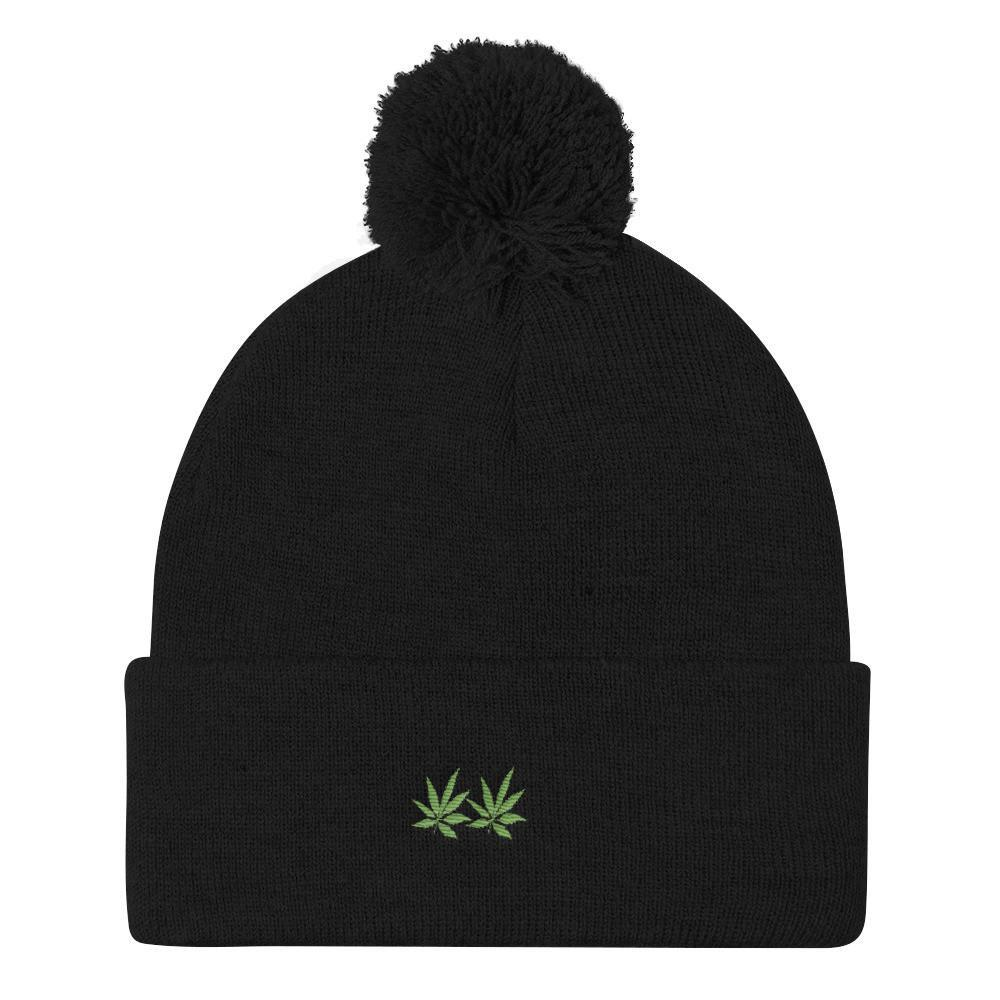 Bufu leafy Pom Pom Knit Cap - and Hemp flowers UK