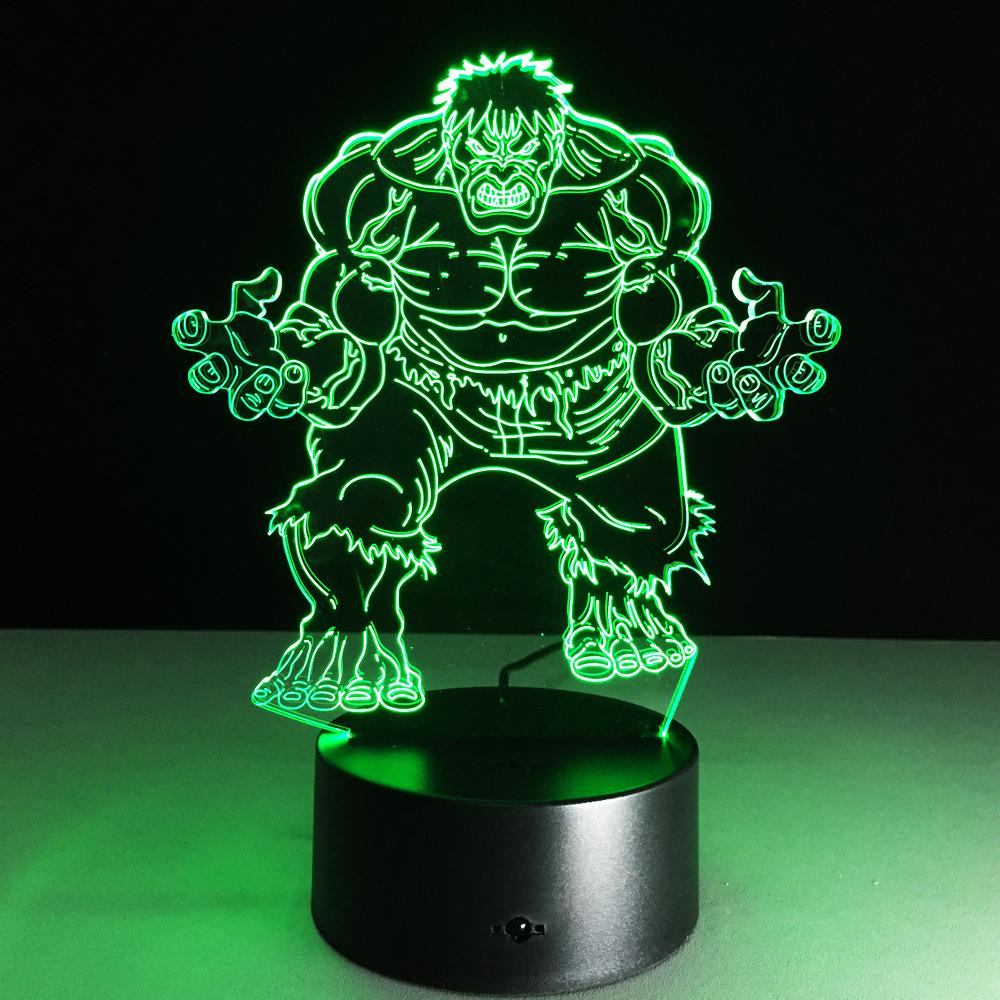 Avengers Hulk 3D Model Toy illusion Bulbing Night Light Projection Kids Bedside Table Lamp USB LED Electronic Gadget Home Decor - and Hemp flowers UK