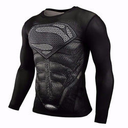 Fitness Compression Shirt Superman VS Batman 3D Printed T-shirts Men Raglan Long Sleeve Cosplay Costume Clothes Male Tops Shirts - and Hemp flowers UK