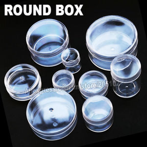 Many Sizes Clear Round Box Plastic case for Organizer DIY Tool Nail Art Jewelry Accessory beads stones Crafts container Storage - and Hemp flowers UK
