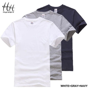 HanHent 3-pack Solid Cotton T shirt Men Classical Comfortable Summer T-shirt Short Sleeve Fashion Fitness Basic Undershirt S-XXL - and Hemp flowers UK