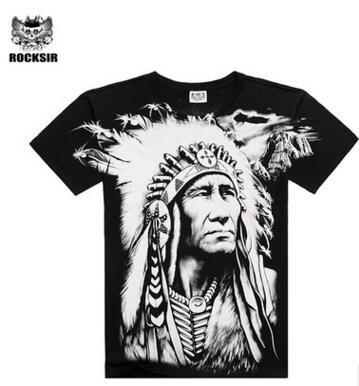 New T shirt Men Summer Style 2016 Fashion Men's Cotton Short Sleeve 3D Printed Indian Character Men Tops Hip Hop T shirts - and Hemp flowers UK