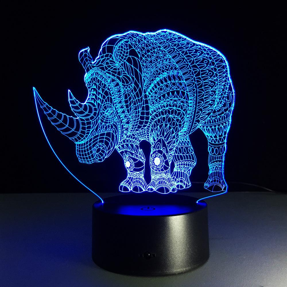 7 Color 3d Lamp Rhinoceros Led Night Lights For Kids Touch Usb Table Lampara Lampe Baby Sleeping Nightlight Night Lamp Clap - and Hemp flowers UK