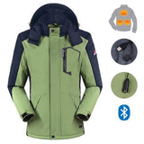 Winter Windproof Warm Jacket Electric Heated / Smart Bluetooth Earphone Men's Coat - and Hemp flowers UK