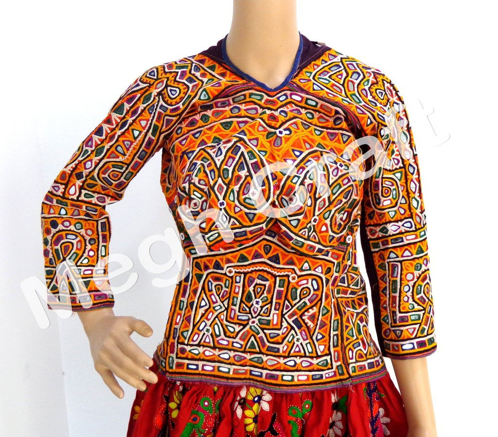 Vintage Tribal Kutchi Glass work Rabari Blouse